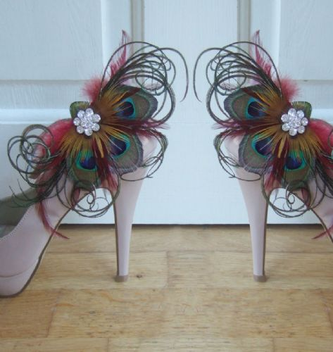 "Bridal Burgundy Red Golden Brown Peacock Feathers ""Carmen"" Crystal Shoe Clips SCP2810"